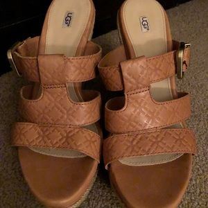 Ugg Shoes Chestnut Suede Callia Wedge Sandal 10 Nwt